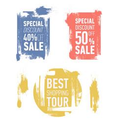 Grunge modern sale stickers flat sale labels vector