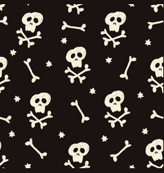 halloween seamless pattern with human skulls vector image vector image