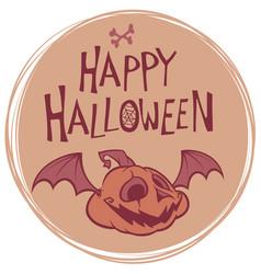 happy halloween poster with pumpkin head vector image