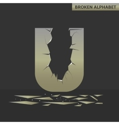 Letter u broken mirror vector