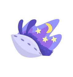 Llama character sleeping in its bed at night cute vector