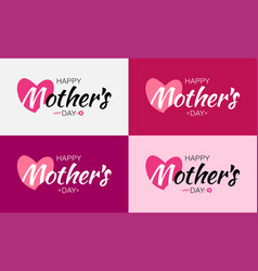 mothers day card lettering set with heart vector image vector image