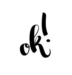 Ok word with exclamation point isolated on vector