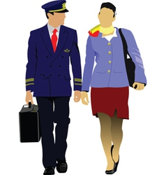pilot and stewardess vector image