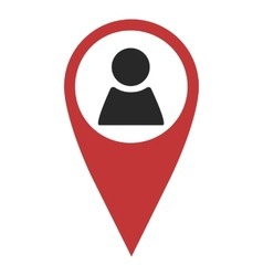 Red geo pin with person sign vector
