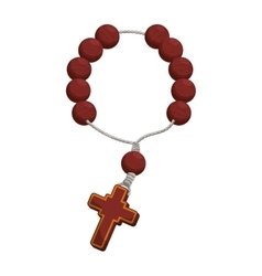 rosary nacklace cross religion icon vector image