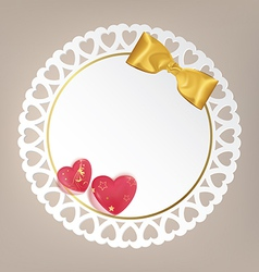 Round card with bow and heart vector image