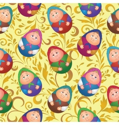 Seamless dolls and floral pattern vector image vector image