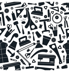 Seamless pattern with image sewing tools vector
