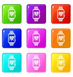 Smartwatch with sport app set 9 vector