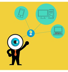The blue eye get idea to cloud concept computing vector image