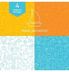Thin Line Art Summer Holiday Travel Patterns Set vector image vector image