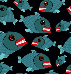 Toothy fish seamless background Evil piranhas in vector image