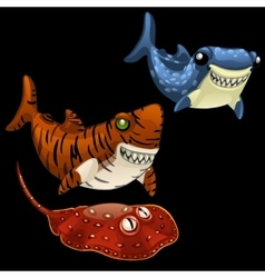 Two funny shark and stingray on a black background vector