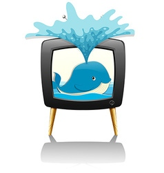 Whale splashing water out of television vector image