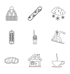 Winter snowboarding icons set outline style vector image vector image