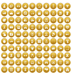 100 hand icons set gold vector