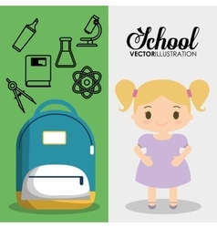 Cartoon girl bag chemistry school pupil flyier vector