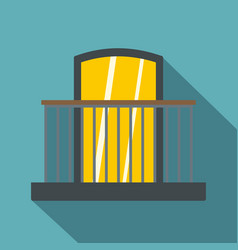 Balcony with iron railing i icon flat style vector