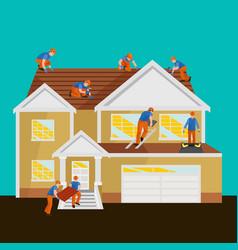 Roof construction worker repair home build vector