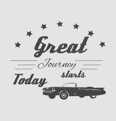 vintage cadillac car with text for journey vector image