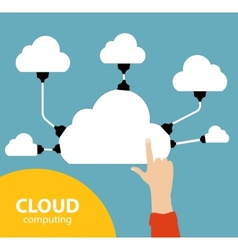 Cloud computing concept on different electronic vector