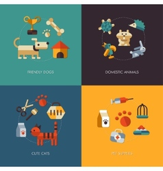 Flat design pets compositions vector