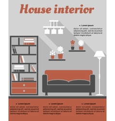 Living room interior infographic template vector