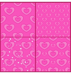 Set of patterns with outline hearts vector