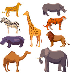 Africa animal decorative set vector