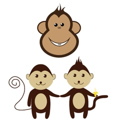 Monkey cartoon friend set smile design vector