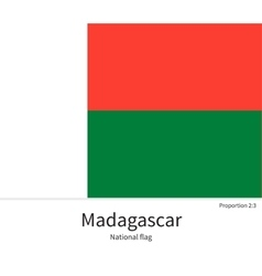 National flag of madagascar with correct vector