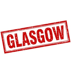 Glasgow red square grunge stamp on white vector