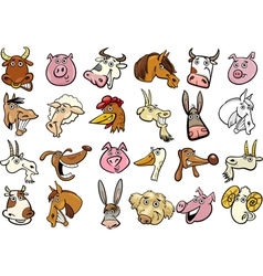 Cartoon farm animals heads huge set vector