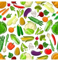 Healthy and raw farm vegetables seamless pattern vector image