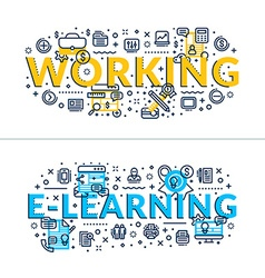 Working and e-learning headings titles horizontal vector