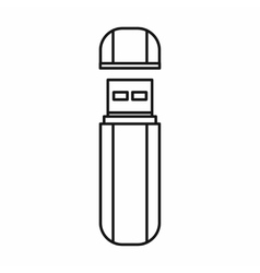 Usb flash drive icon outline style vector