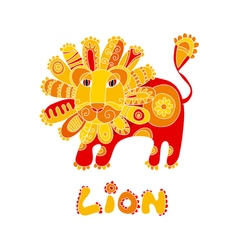 Folk style red and yellow lion vector