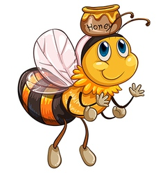 A bee flying with a pot of honey vector image
