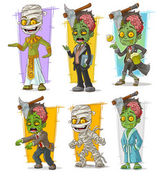 Cartoon zombie mummy monster character set vector