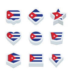 Cuba flags icons and button set nine styles vector