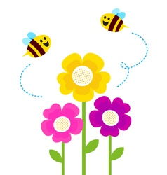 Cute bees flying around vector