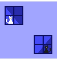 Cute black and white cats behind a curtain vector