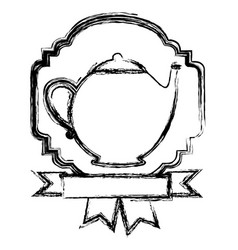 Emblem teapot with ribbon icon vector