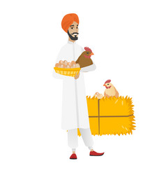 Farmer holding chicken and basket of eggs vector
