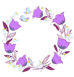 floral wreath with butterflies vector image