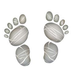 Foot step pebble stone summer holiday beach vector