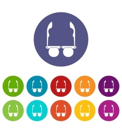 Glasses with black round lenses set icons vector image vector image