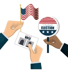 Hand hold flag ballot voting usa election graphic vector