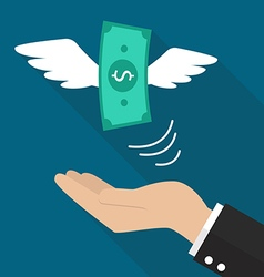 Hand with money fly vector